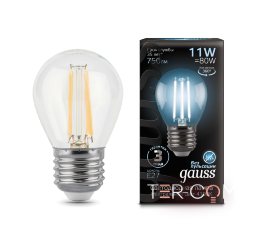 Лампа Gauss LED Filament Шар E27 11W 750lm 4100K