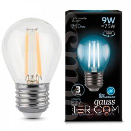 Лампа Gauss LED Filament Globe E27 9W 4100K